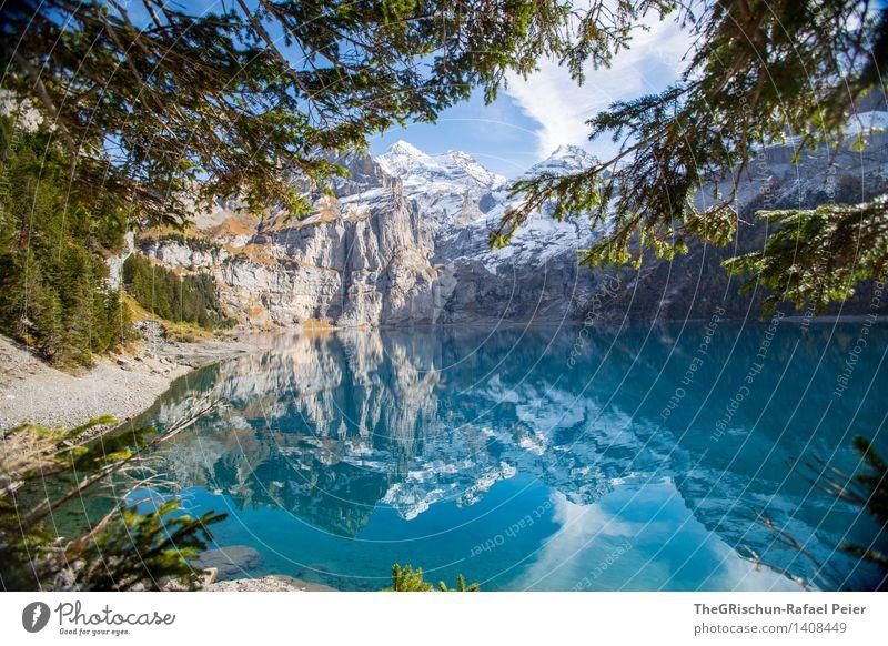 Lake Oeschinesee Environment Nature Landscape Blue Brown Yellow Green Black Silver Turquoise White Lake Oeschinen Switzerland Esthetic Reflection Water Mountain