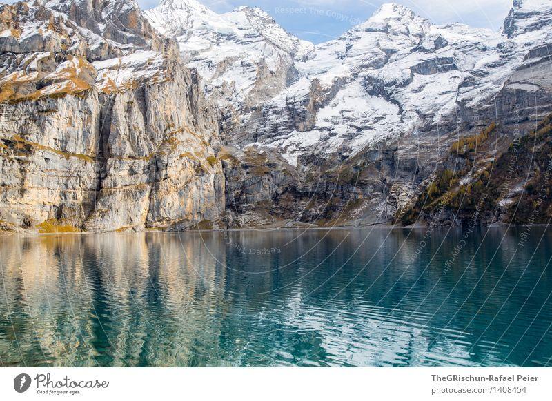 mountain Environment Nature Blue Brown Yellow Gray Green Black Silver Turquoise White Mountain Water Lake Lake Oeschinen Switzerland Rock Stone Snowcapped peak