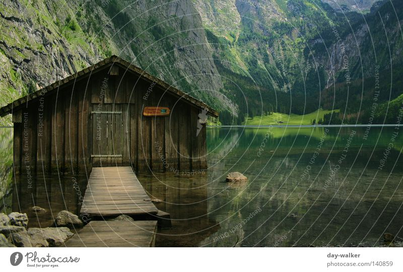 Cottage in Königssee Lake Königssee Lake Obersee Water Hut House (Residential Structure) Alpine pasture Reflection Mountain Massive German Alps Wall of rock