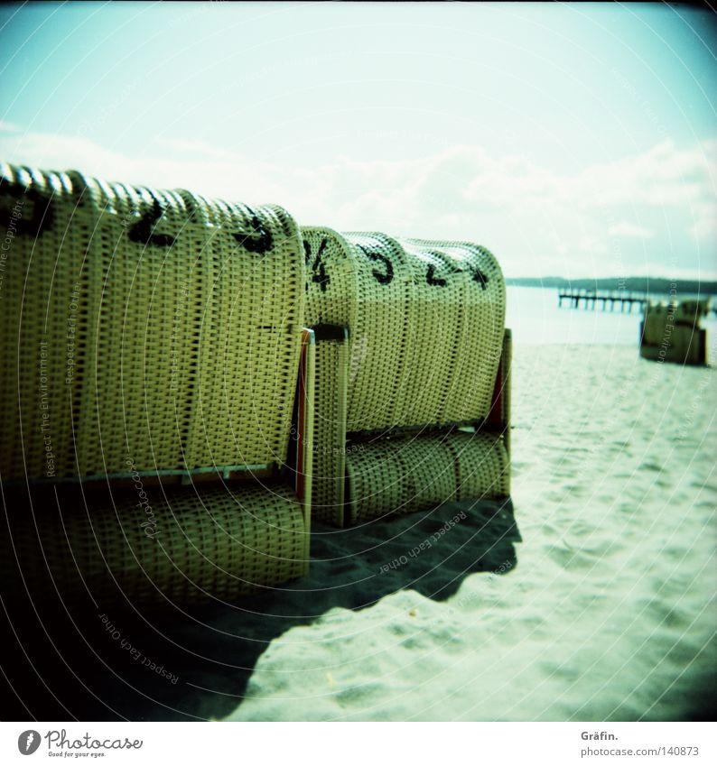 wicker beach chairs Holga Medium format Roll film Beach Waves Ocean Beach chair Summer Grain of sand Leisure and hobbies Tourist Summer vacation