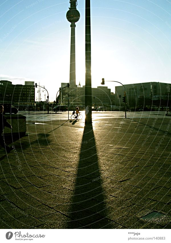 brotherhood. Berlin Alexanderplatz Capital city Sun Sunset Evening Dusk Twilight Television tower Berlin TV Tower Back-light Evening sun Shadow Tall Landmark