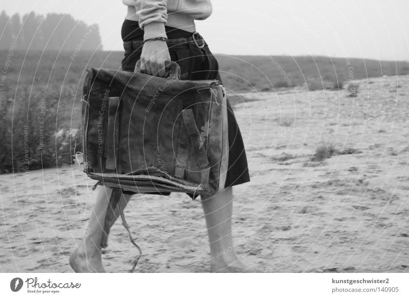 aground Suitcase Far-off places Beach Man Leather Black Pants Coast Human being Sand Legs Beach dune Free Loneliness Old wise Nature Landscape Leather case