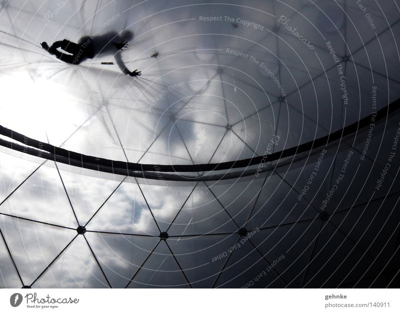 Falling from the sky Human being Crawl Black White Worm's-eye view Sky Contrast Clouds Structures and shapes Stability Construction Grid Tension Strange Above