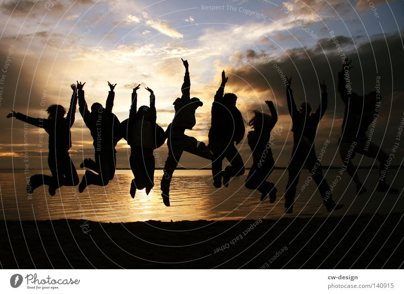 Human being Youth (Young adults) Vacation & Travel Sun Summer Ocean Beach Joy Clouds Man Woman Feminine Life Freedom Coast Group