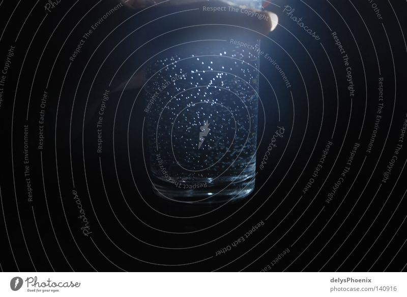 starry sky in a glass. Mineral water Glass Drinking water Water Tumbler Fluid Mystic Beverage Dark Night Light Bubbling Black Contrast Refreshment