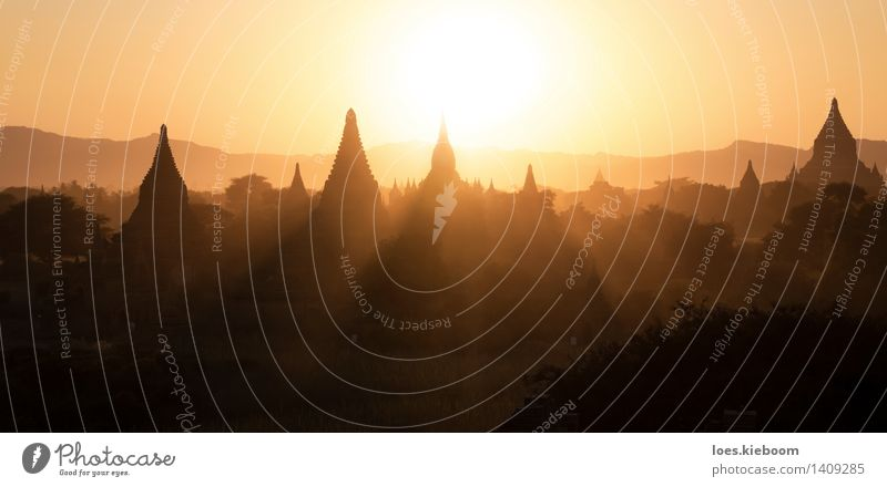 The landscape of Bagan shaped by sunset Vacation & Travel Tourism Monument Yellow Peace Religion and faith Tradition Asia beautiful beauty Buddha buddhism