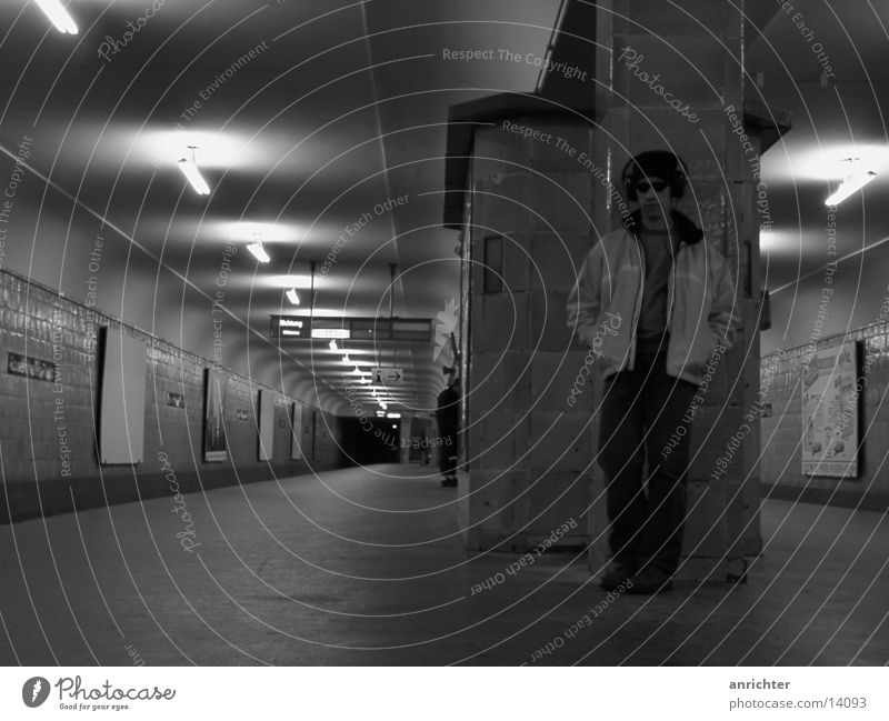 lonely? Underground Rosenthaler Platz Loneliness Moody Transport Berlin Black & white photo