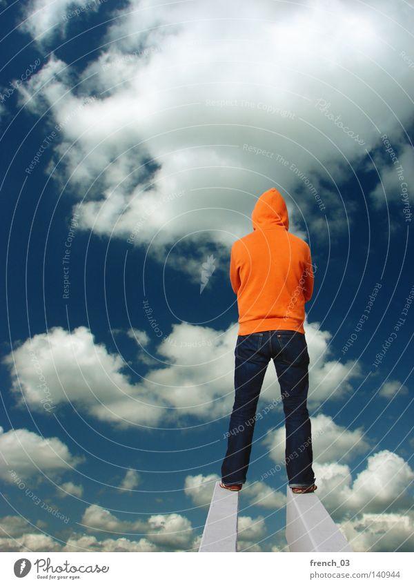 Human being Sky Man Blue Colour Clouds Far-off places Emotions Lanes & trails Religion and faith Earth Horizon Orange Earth Wait Concrete