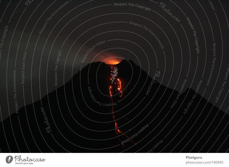 Red Mountain Action Volcano Ashes Lava Central America Volcanic crater Incandescent Vulcano Costa Rica