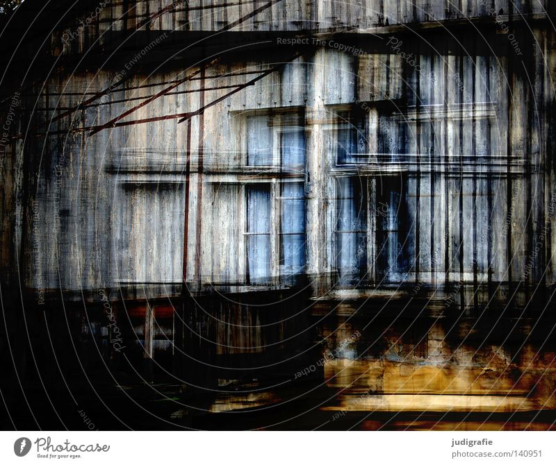 Visible House (Residential Structure) Window Wood Facade Old Derelict Building Living or residing Glass Double exposure Curtain Drape Colour multiple exposure