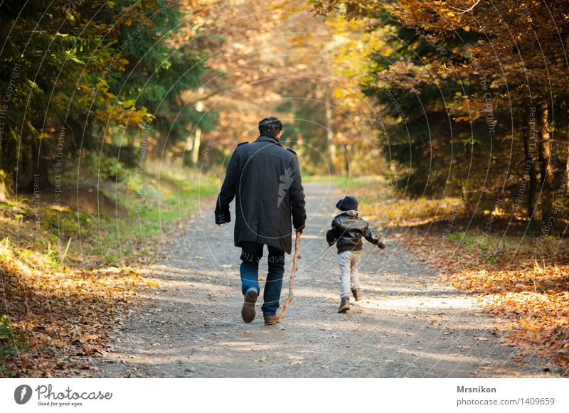 Human being Child Man Adults Life Autumn Love Boy (child) Family & Relations Masculine Hiking Infancy Happiness Back Joie de vivre (Vitality) Beautiful weather