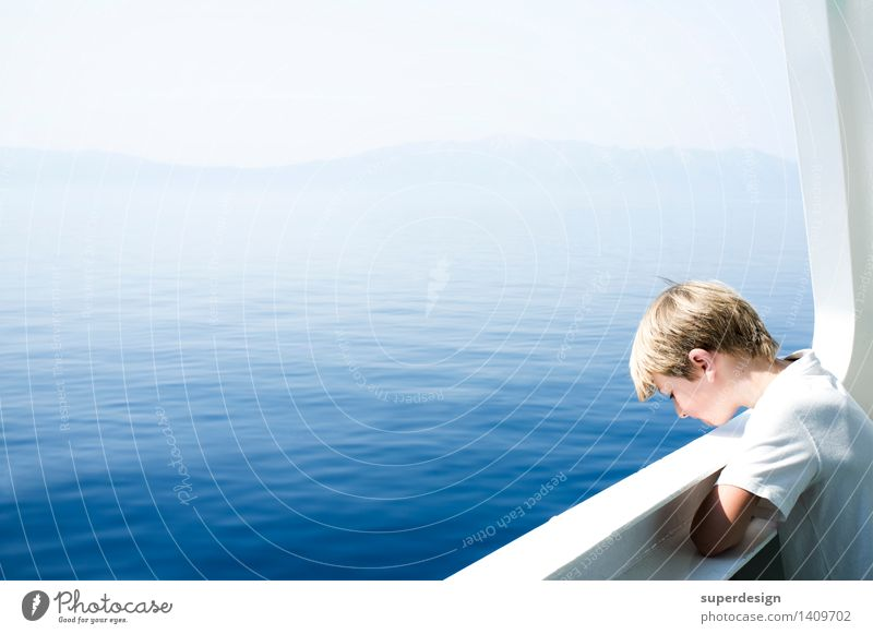 Child Vacation & Travel Blue Summer Sun Ocean Calm Far-off places Boy (child) Think Freedom Head Tourism Contentment Waves Infancy