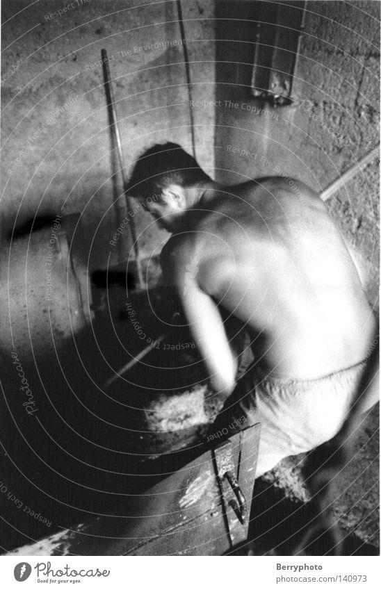 lavender distillery Man Masculine Musculature Power Movement Work and employment France Back Interior shot Black & white photo labour situation