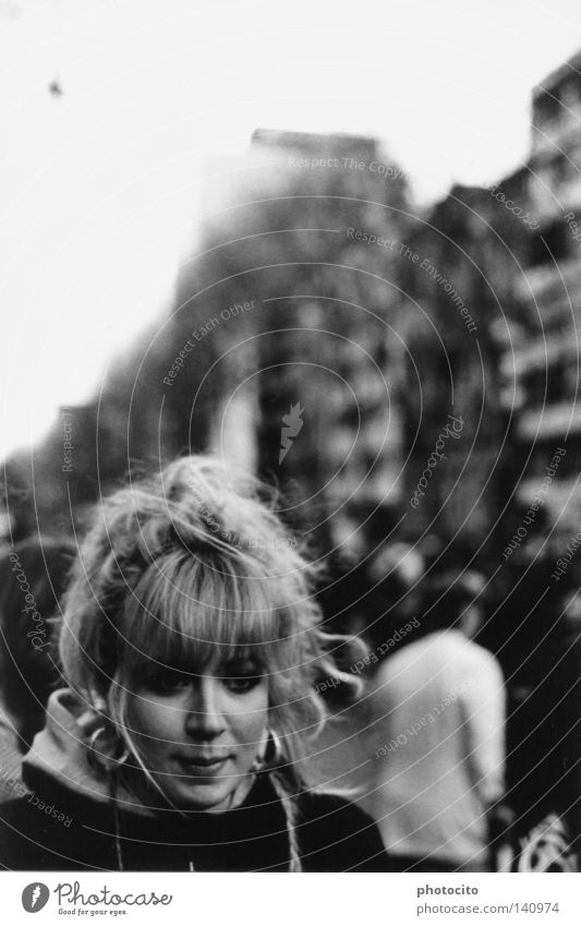 alone among people Cologne Black & white photo Portrait photograph Hair and hairstyles Youth (Young adults) Beautiful Blonde Germany Think Hope youth Happy