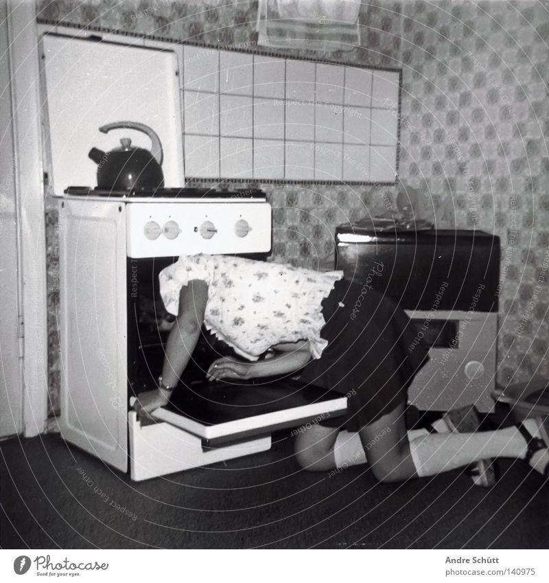 Retro Kitchen Death Gas Suicide Entertainment Stove & Oven Mini skirt Black & white photo Boiler Sock