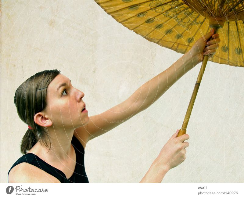 And our love will take us away Portrait photograph Woman Black Sunshade Hair and hairstyles Face umbrella