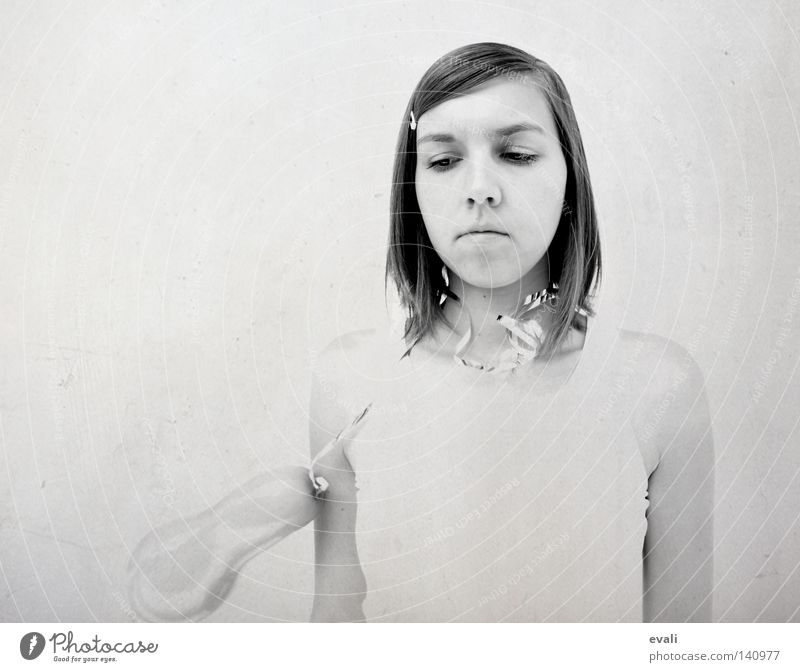 Woman Girl White Face Black Hair and hairstyles Gray Sadness Grief Balloon Portrait photograph Black & white photo