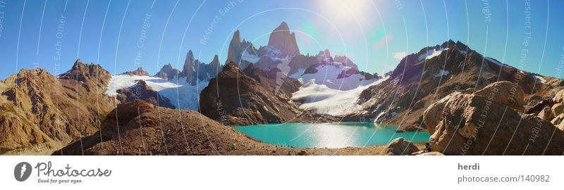 Argentina Water Sky Sun Chile Mountain Large Panorama (Format) Glacier South America Mountain lake Patagonia Fitz Roy mountain