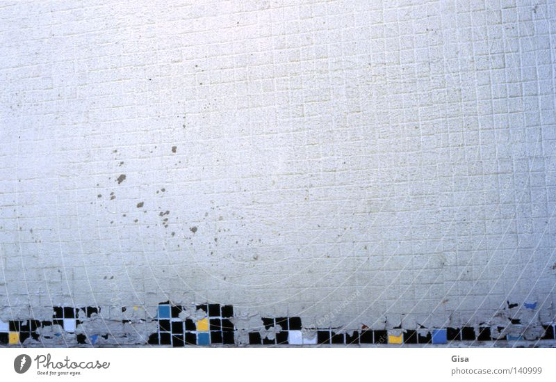failed tetris Facade Grief Old Mosaic Incomplete Dirty Wall (building) Wall (barrier) White Gray Blue Empty Unfulfilled Exterior shot Analog Derelict Sadness