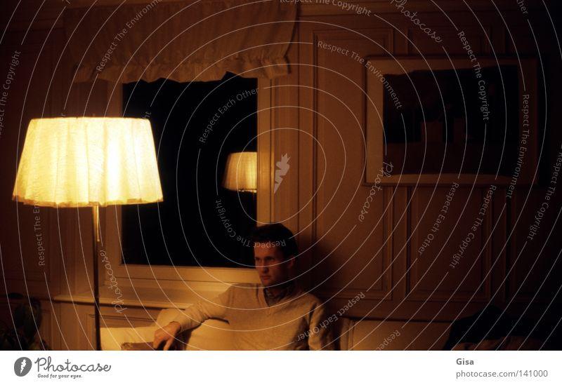 Man Black Yellow Dark Window Think Wait Image Sofa Analog Painting and drawing (object) Living room Beige Art Standard lamp Tone-on-tone