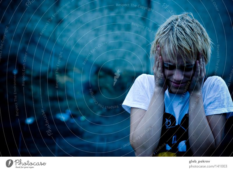 rain it. Portrait photograph Rain Street Storm clouds Girl Dye Light (Natural Phenomenon) Clothing T-shirt Hand Hair and hairstyles Head Nose Face Fear Panic