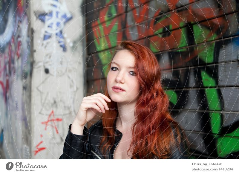 chris_by_photoart Skate park Young woman Youth (Young adults) Woman Adults 1 Human being 13 - 18 years Esslingen district Jacket Leather Red-haired Long-haired
