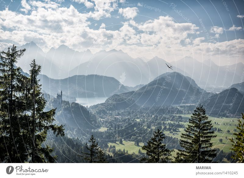 Autumn day in the Allgäu Calm Vacation & Travel Sun Mountain Hiking Environment Nature Landscape Plant Clouds Fog Forest Hill Rock Alps Stone Blue Green Go up
