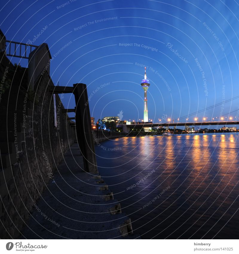 finalized in berlin Duesseldorf Rhine Rheinturm Television tower Town Evening Lifestyle Modern Street Blue Night life Lamp Lighting Event lighting Tower
