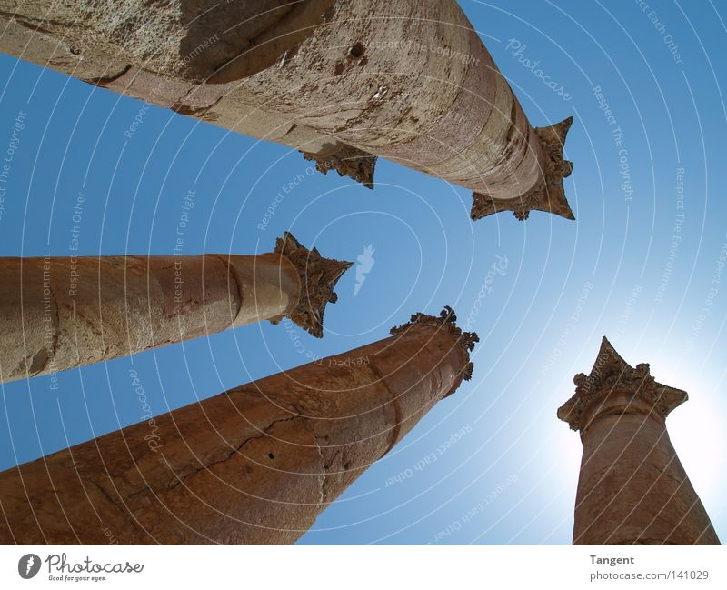 Five Pillars Deserted Ruin Manmade structures Building Architecture Tourist Attraction Monument Esthetic Column Corinth Roman era Worm's-eye view Tall 4
