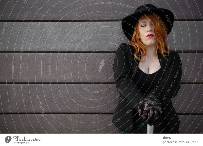 . Feminine 1 Human being Wall (barrier) Wall (building) Jacket Umbrella Hat Red-haired Long-haired Think Sadness Wait Dark Beautiful Emotions Self Control
