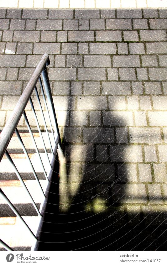 shadow Light Shadow Sun Stairs Banister Landing Approach to the stairs Paving stone Cobbled pathway Courtyard Interior courtyard Backyard Commercial building