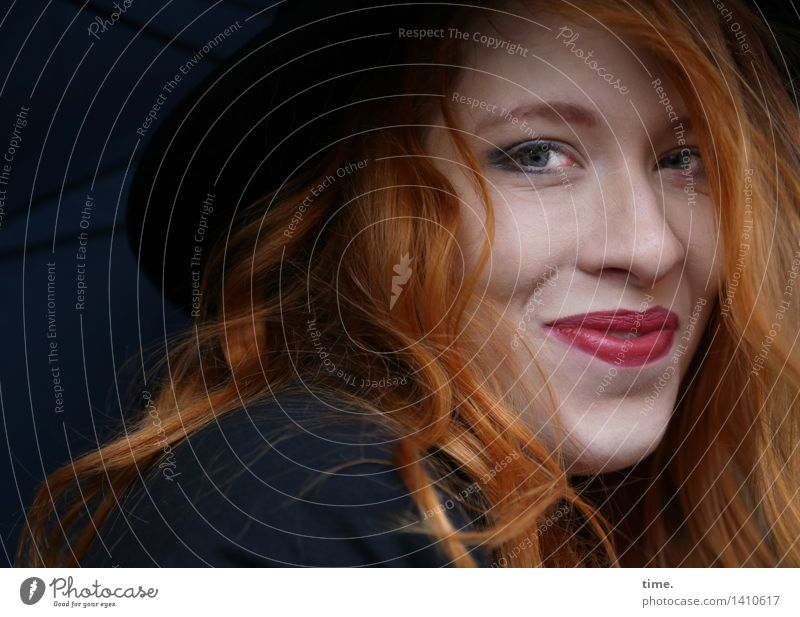 . Feminine 1 Human being Jacket Umbrella Hat Red-haired Long-haired Observe Smiling Looking Friendliness Happiness Beautiful Happy Contentment
