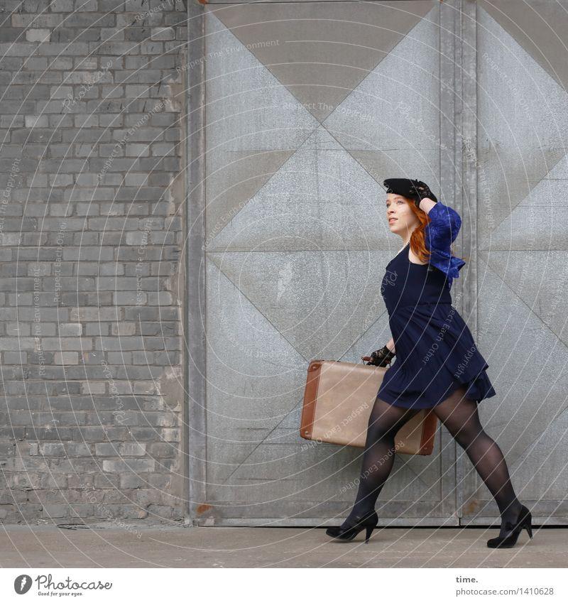 . Feminine 1 Human being Wall (barrier) Wall (building) Door Dress Jacket Tights Suitcase High heels Cap Stone Metal Brick Observe Going Walking Looking Elegant