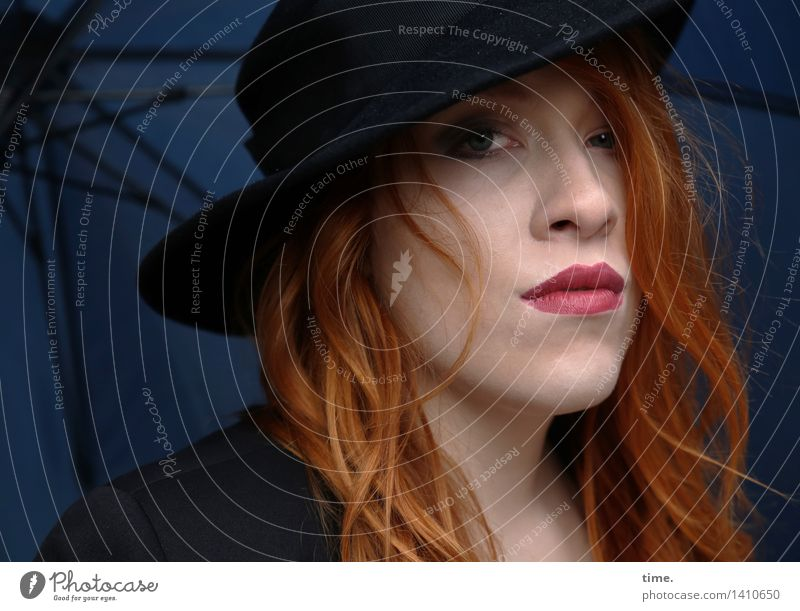 . Feminine 1 Human being Jacket Umbrella Hat Red-haired Long-haired Curl Observe Think Looking Wait Dark Beautiful Cool (slang) Willpower Brave Protection
