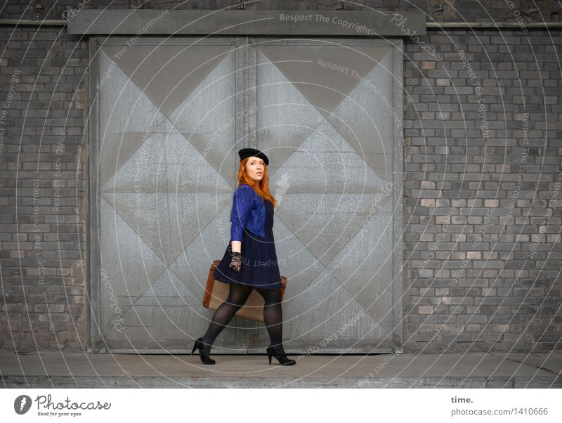 . Feminine 1 Human being Wall (barrier) Wall (building) Gate Dress Jacket Suitcase Gloves Cap Red-haired Long-haired Observe Going Vacation & Travel Looking