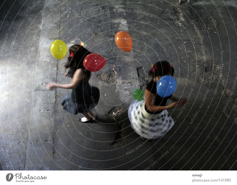 Woman Youth (Young adults) Girl White Joy Black Colour Feminine Air Dance Happiness Balloon Wing Child Derelict Skirt