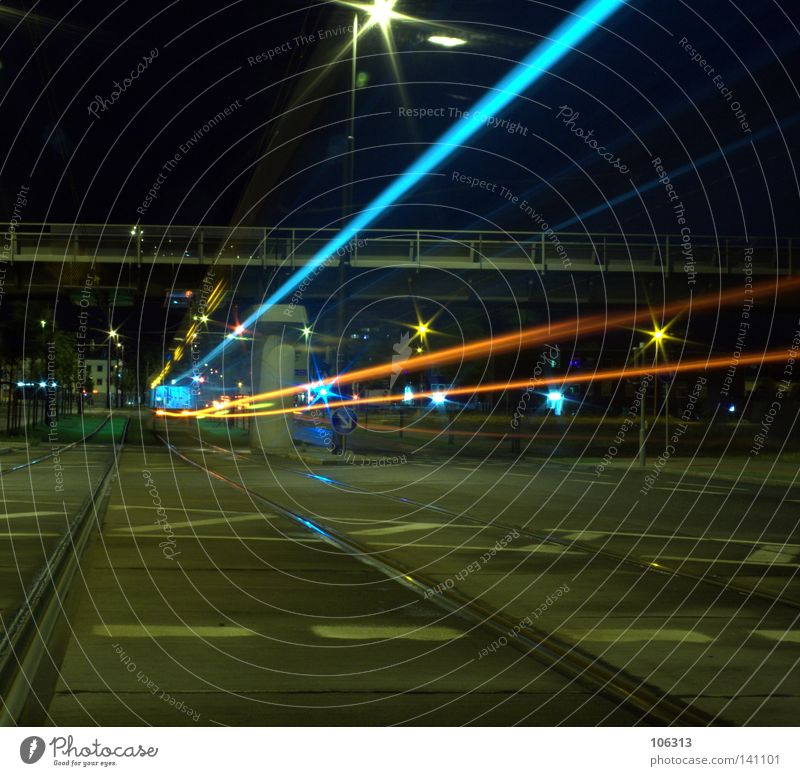 Blue City Loneliness Street Colour Lamp Dark Movement Line Bright Lighting Orange Fear Stars Flying Railroad