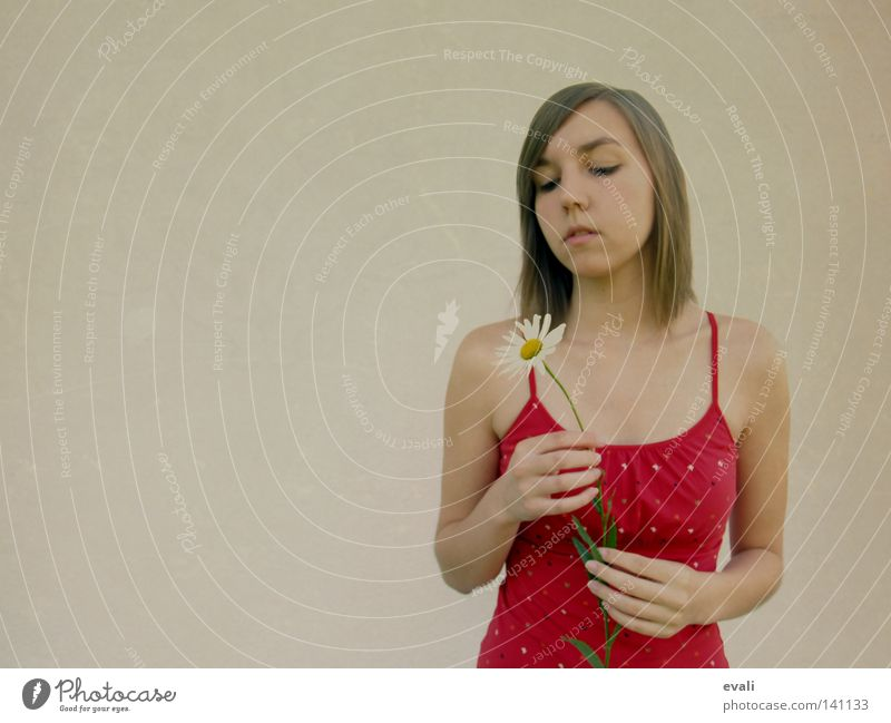 Listen to the silence, do you hear the sound it makes Portrait photograph Woman Flower Marguerite Hand Red Grief Calm Face hands Hair and hairstyles Sadness sad