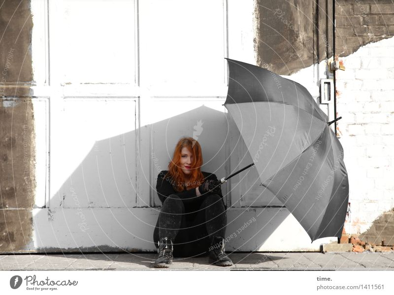 . Feminine 1 Human being Wall (barrier) Wall (building) Door Umbrella Red-haired Long-haired Observe Think Smiling Looking Sit Wait Astute Beautiful Contentment