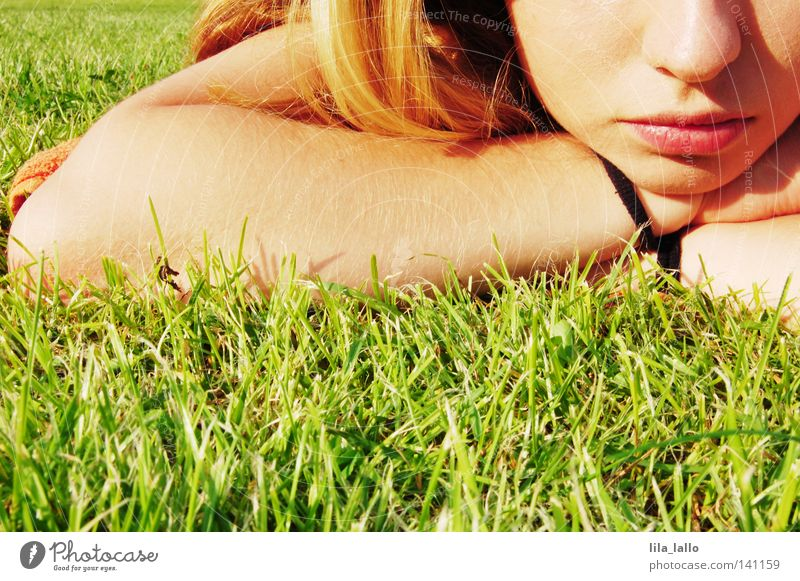 Woman Vacation & Travel Summer Calm Face Relaxation Meadow Emotions Grass Freedom Hair and hairstyles Think Contentment Leisure and hobbies Arm