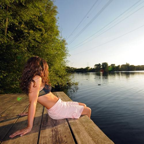 Day at the lake Lake Vacation & Travel Relaxation Wellness Healthy Calm Peace Leisure and hobbies Joy Swimming & Bathing Evening Sunset Solar Power Sky Water