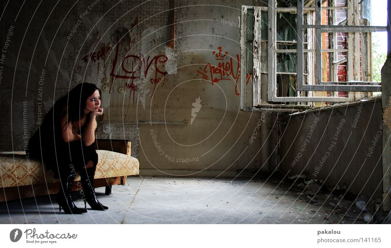 longing Longing Lose Doomed Bed Seating Sofa Living room Room Ruin Boots Window House (Residential Structure) Wall (building) Wall (barrier) Old Black Thought