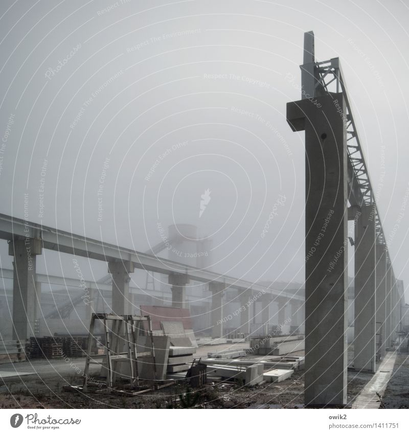 working atmosphere Technology Industry construction sector Construction site Fog Concrete Steel Work and employment Build Stand Sharp-edged Firm Large
