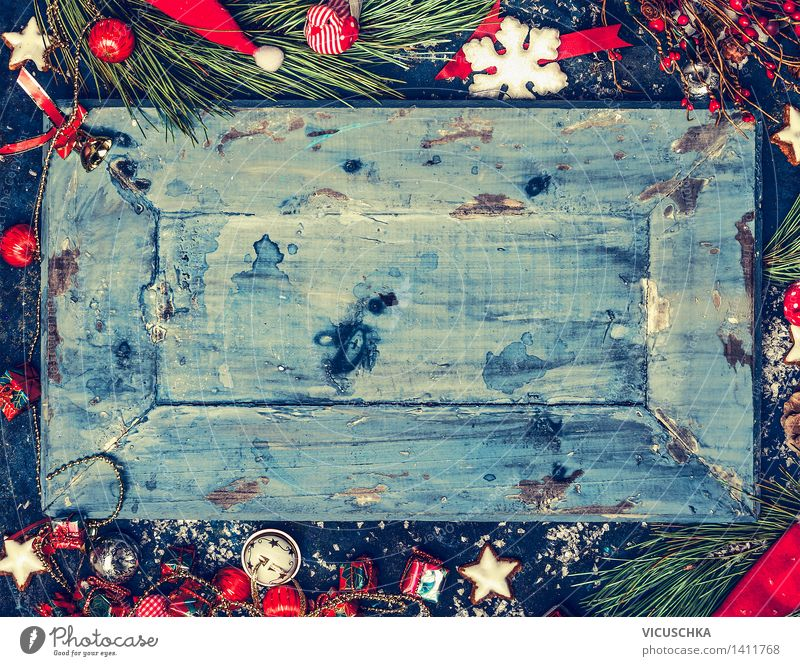 Blue Christmas background with red and white decoration Style Design Winter Feasts & Celebrations Christmas & Advent Nature Retro Background picture Horizontal