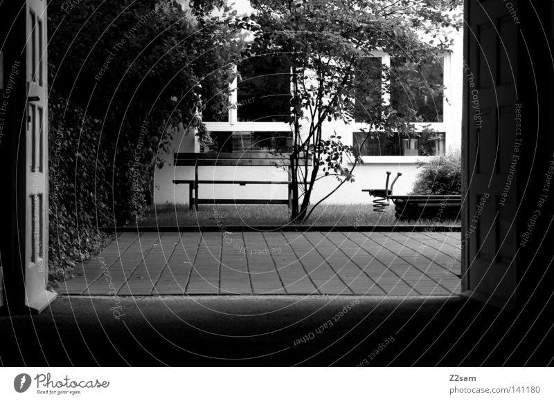 Tree Summer Loneliness Relaxation Meadow Dark Window Lanes & trails Door Gloomy Bench Farm Munich Tile Gate Backyard
