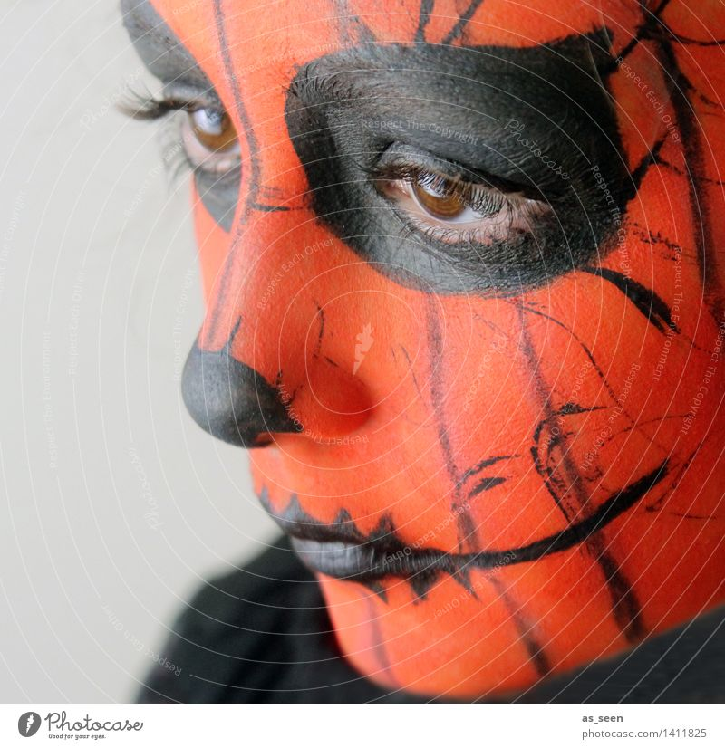 Human being Child Colour Dark Black Face Eyes Life Feasts & Celebrations Orange Design Authentic Infancy Esthetic Fantastic Shows