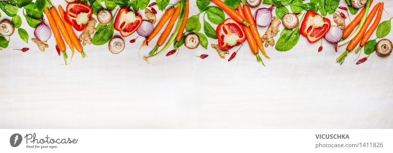 Selection of organic vegetables and ingredients for healthy cooking Food Vegetable Lettuce Salad Herbs and spices Nutrition Organic produce Vegetarian diet Diet