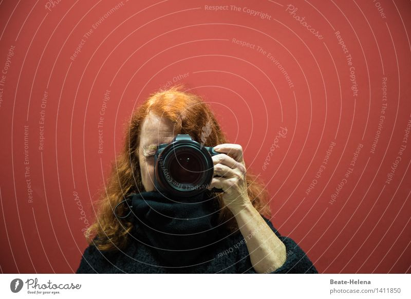 Self-portrait. I see red. Lifestyle Camera Feminine Head Hair and hairstyles Arm Red-haired Breathe Discover Looking Esthetic Black Happiness Contentment
