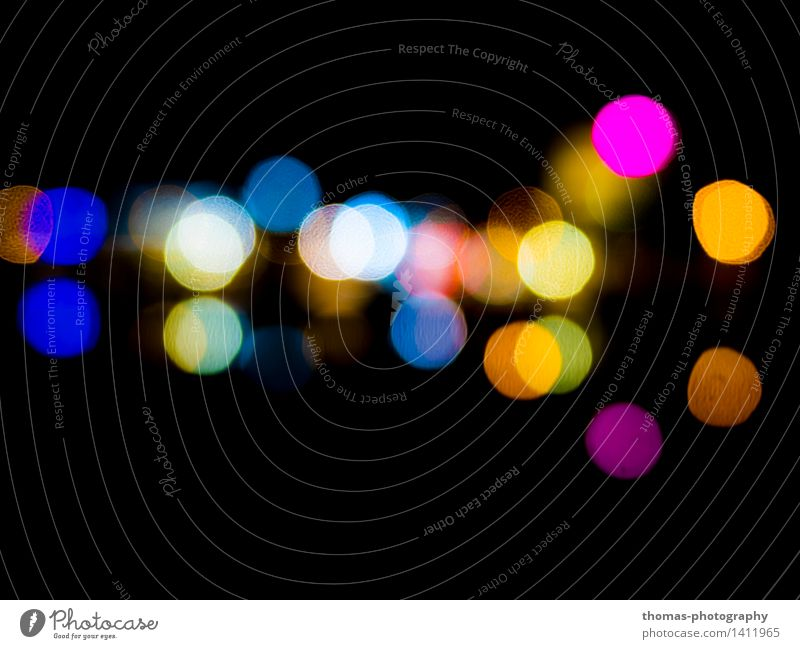 Far and yet so near Art Blue Multicoloured Yellow Gold Green Red Black Colour photo Experimental Abstract Pattern Night Light Contrast Reflection