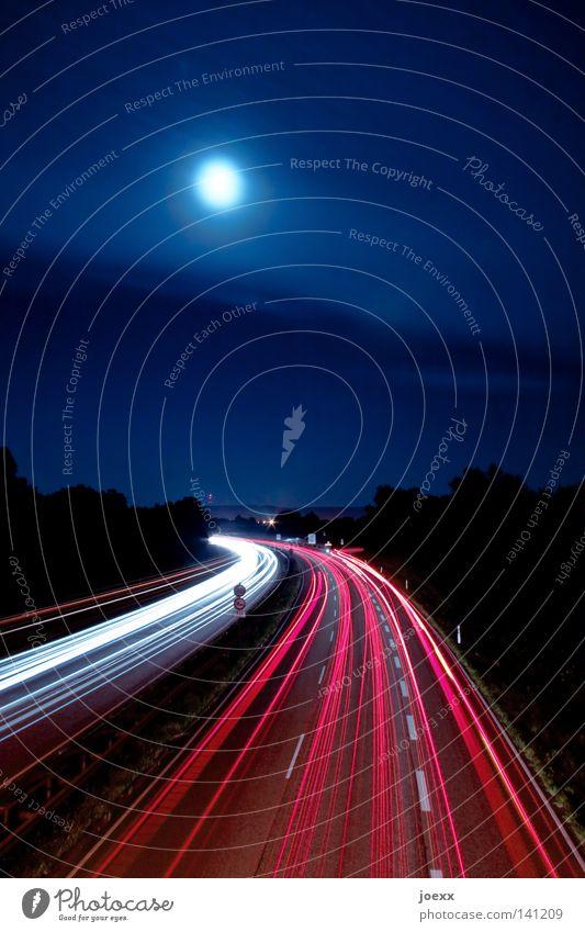 Sky Street Transport Night Highway Traffic infrastructure Stress Moon Curve Motoring Floodlight Car lights Night sky Road traffic Bend Car headlights